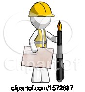 White Construction Worker Contractor Man Holding Large Envelope And Calligraphy Pen