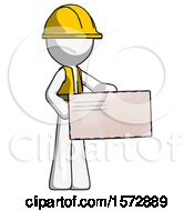 White Construction Worker Contractor Man Presenting Large Envelope