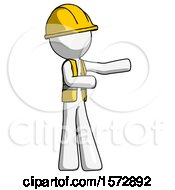 White Construction Worker Contractor Man Presenting Something To His Left