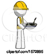 White Construction Worker Contractor Man Holding Noodles Offering To Viewer