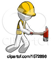 White Construction Worker Contractor Man With Ax Hitting Striking Or Chopping