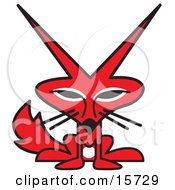 Cute Red Fox With A White Belly And Big Pointed Ears Clipart Illustration