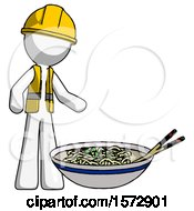White Construction Worker Contractor Man And Noodle Bowl Giant Soup Restaraunt Concept