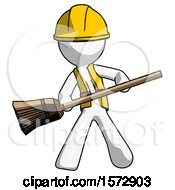 White Construction Worker Contractor Man Broom Fighter Defense Pose
