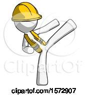 White Construction Worker Contractor Man Ninja Kick Right