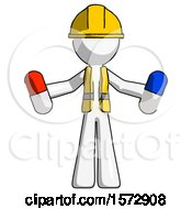 White Construction Worker Contractor Man Holding A Red Pill And Blue Pill