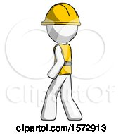 White Construction Worker Contractor Man Walking Away Direction Left View