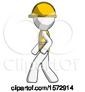 White Construction Worker Contractor Man Walking Left Side View