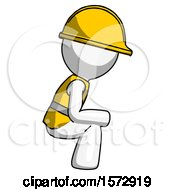 White Construction Worker Contractor Man Squatting Facing Right