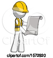 White Construction Worker Contractor Man Holding Blueprints Or Scroll