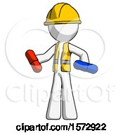 White Construction Worker Contractor Man Red Pill Or Blue Pill Concept