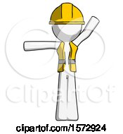 White Construction Worker Contractor Man Directing Traffic Left