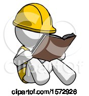 Poster, Art Print Of White Construction Worker Contractor Man Reading Book While Sitting Down