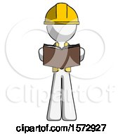 Poster, Art Print Of White Construction Worker Contractor Man Reading Book While Standing Up Facing Viewer