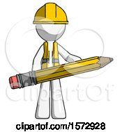 White Construction Worker Contractor Man Writer Or Blogger Holding Large Pencil