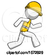 White Construction Worker Contractor Man Running Fast Right