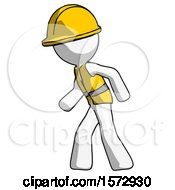 White Construction Worker Contractor Man Suspense Action Pose Facing Left