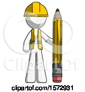 White Construction Worker Contractor Man With Large Pencil Standing Ready To Write