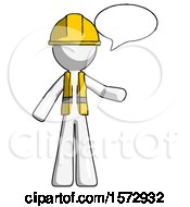 White Construction Worker Contractor Man With Word Bubble Talking Chat Icon