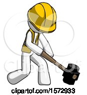 White Construction Worker Contractor Man Hitting With Sledgehammer Or Smashing Something At Angle