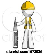 White Construction Worker Contractor Man Standing With Large Thermometer