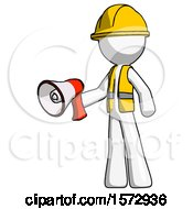 White Construction Worker Contractor Man Holding Megaphone Bullhorn Facing Right