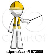 Poster, Art Print Of White Construction Worker Contractor Man Teacher Or Conductor With Stick Or Baton Directing