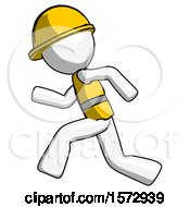 White Construction Worker Contractor Man Running Fast Left