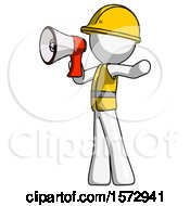 White Construction Worker Contractor Man Shouting Into Megaphone Bullhorn Facing Left