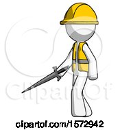 White Construction Worker Contractor Man With Sword Walking Confidently