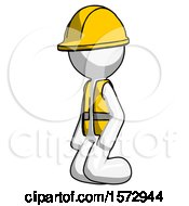 White Construction Worker Contractor Man Kneeling Angle View Left