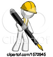 White Construction Worker Contractor Man Drawing Or Writing With Large Calligraphy Pen