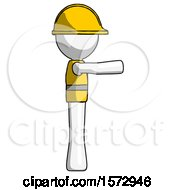 White Construction Worker Contractor Man Pointing Right
