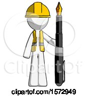 White Construction Worker Contractor Man Holding Giant Calligraphy Pen