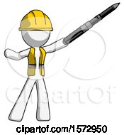 White Construction Worker Contractor Man Demonstrating That Indeed The Pen Is Mightier
