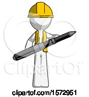White Construction Worker Contractor Man Posing Confidently With Giant Pen