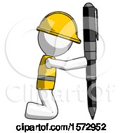 White Construction Worker Contractor Man Posing With Giant Pen In Powerful Yet Awkward Manner