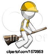 White Construction Worker Contractor Man Flying On Broom