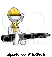 White Construction Worker Contractor Man Riding A Pen Like A Giant Rocket