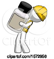White Construction Worker Contractor Man Holding Large White Medicine Bottle