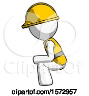 White Construction Worker Contractor Man Squatting Facing Left