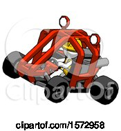 White Construction Worker Contractor Man Riding Sports Buggy Side Top Angle View