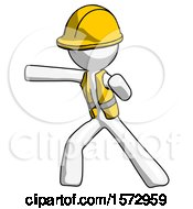 White Construction Worker Contractor Man Martial Arts Punch Left