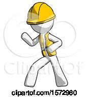 White Construction Worker Contractor Man Martial Arts Defense Pose Left