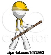 White Construction Worker Contractor Man Holding Bo Staff In Sideways Defense Pose