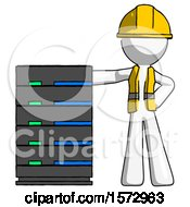 White Construction Worker Contractor Man With Server Rack Leaning Confidently Against It