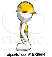White Construction Worker Contractor Man Kneeling Right