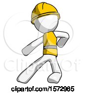 White Construction Worker Contractor Man Karate Defense Pose Left