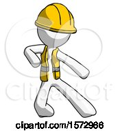 White Construction Worker Contractor Man Karate Defense Pose Right