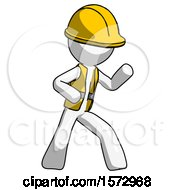 White Construction Worker Contractor Man Martial Arts Defense Pose Right